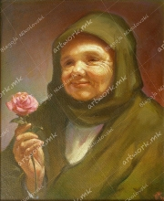 Old woman with a rose